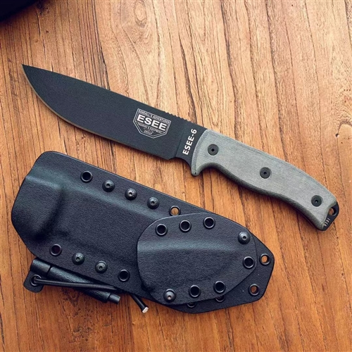 ESEE 美国著名求生刀ESEE-6 Black Plain Edge Blade Black Sheath著名求生刀